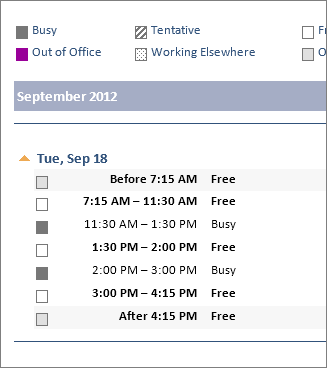 Example of a calendar shared in an email
