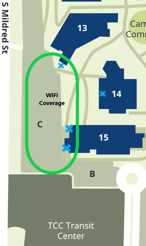 TCC Parking Lot Wi-Fi Western Side of Bldg 13, 14, and 15