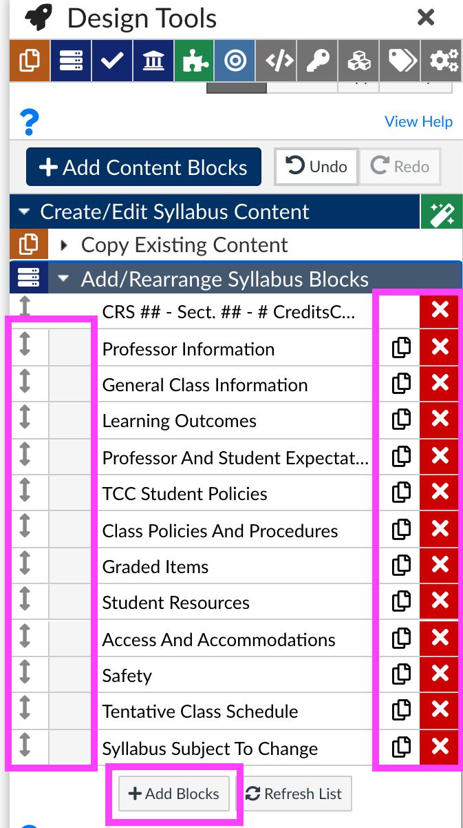 Rearrange content blocks