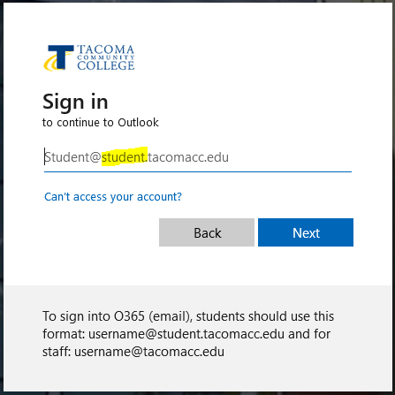 student email sign in including the @student