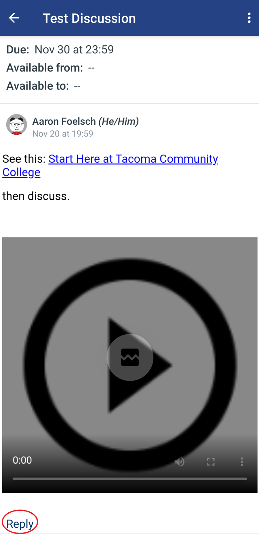 A screenshot of a test discussion in the Canvas Mobile App, the Reply button is circled