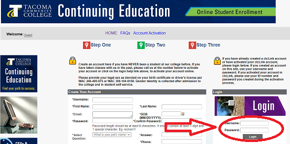 Continuing Education Login Page