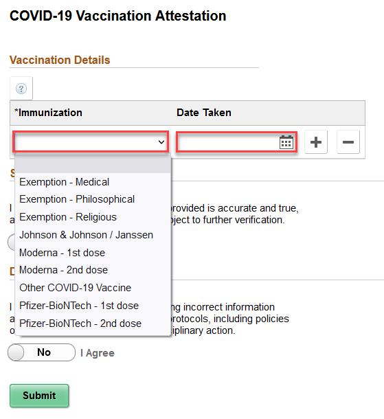 Screenshot showing options for immunization attestation or exemption