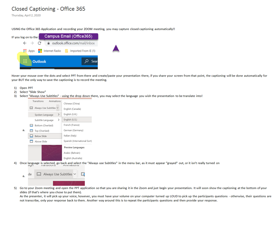 Screenshot of Closed Captioning Office365 and PowerPoint presentations recorded in Zoom