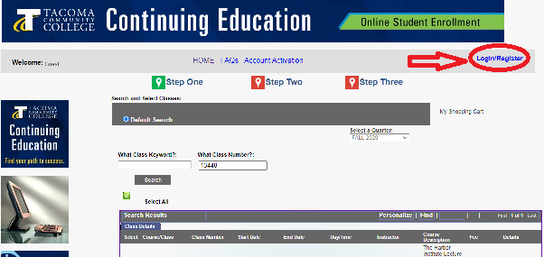 Screen shot from Continuing Ed Sign Up Page